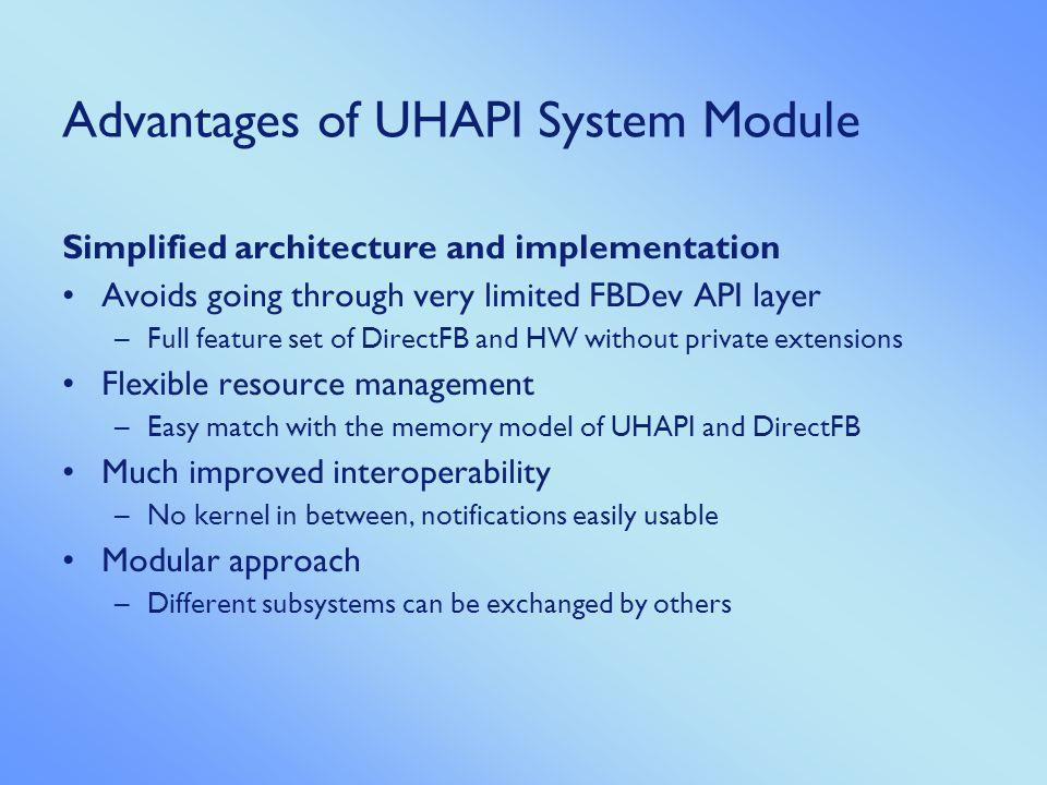 Advantages of UHAPI System Module