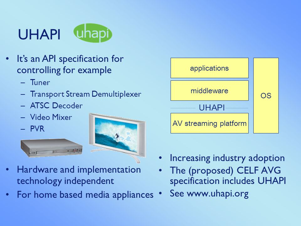 UHAPI It's an API specification for controlling for example