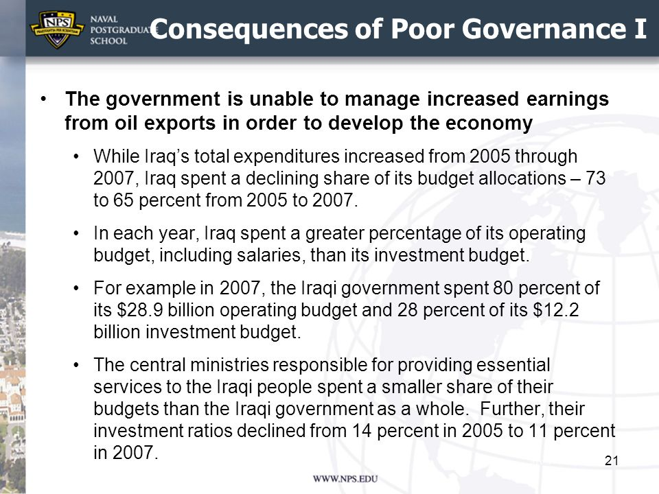 Consequences of Poor Governance I