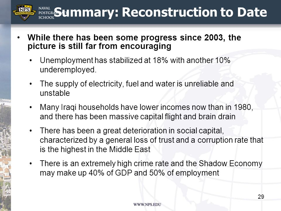 Summary: Reconstruction to Date