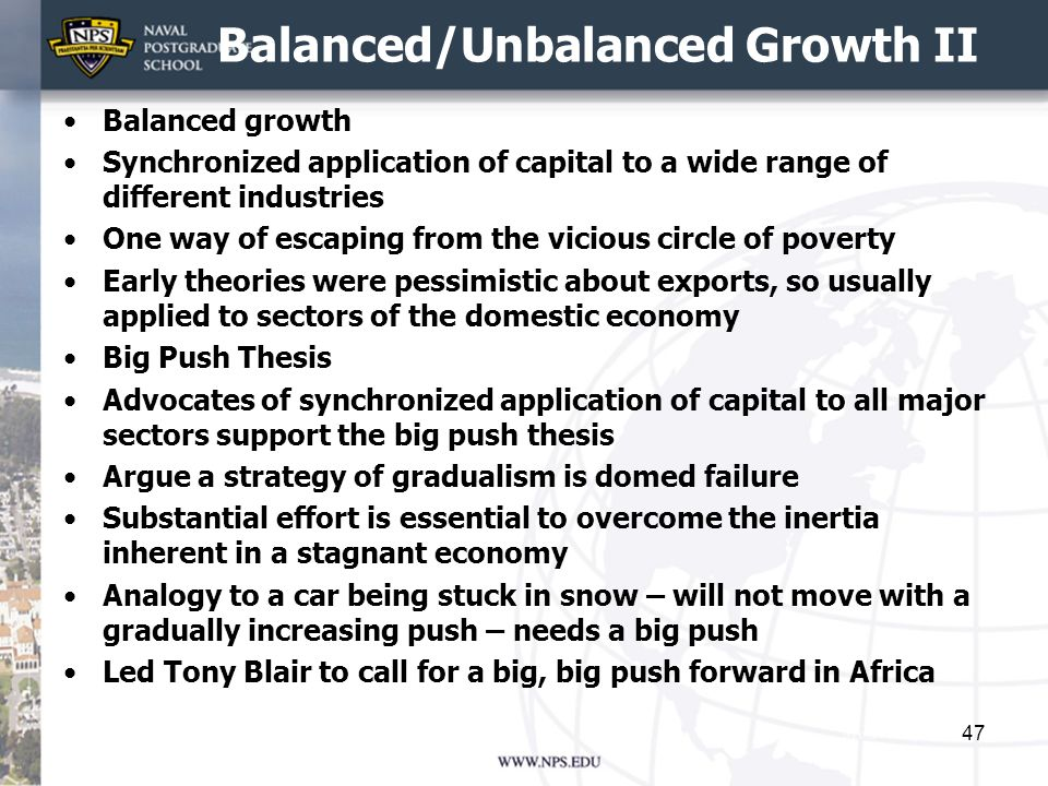 Balanced/Unbalanced Growth II