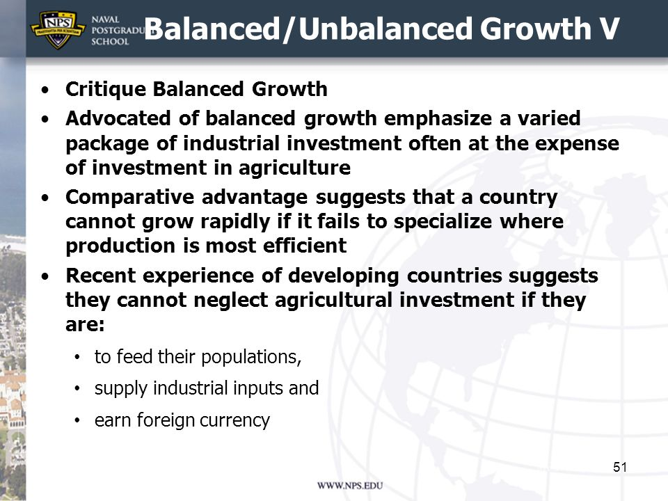 Balanced/Unbalanced Growth V