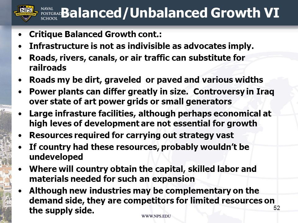 Balanced/Unbalanced Growth VI
