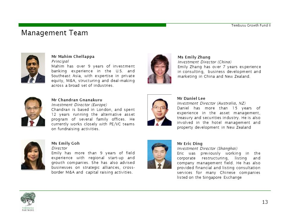 Management Team Strong and Diverse Management Team