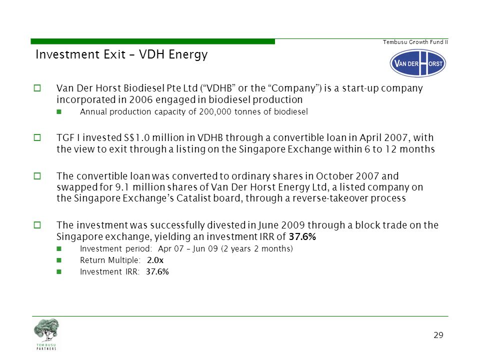 Investment Exit – VDH Energy