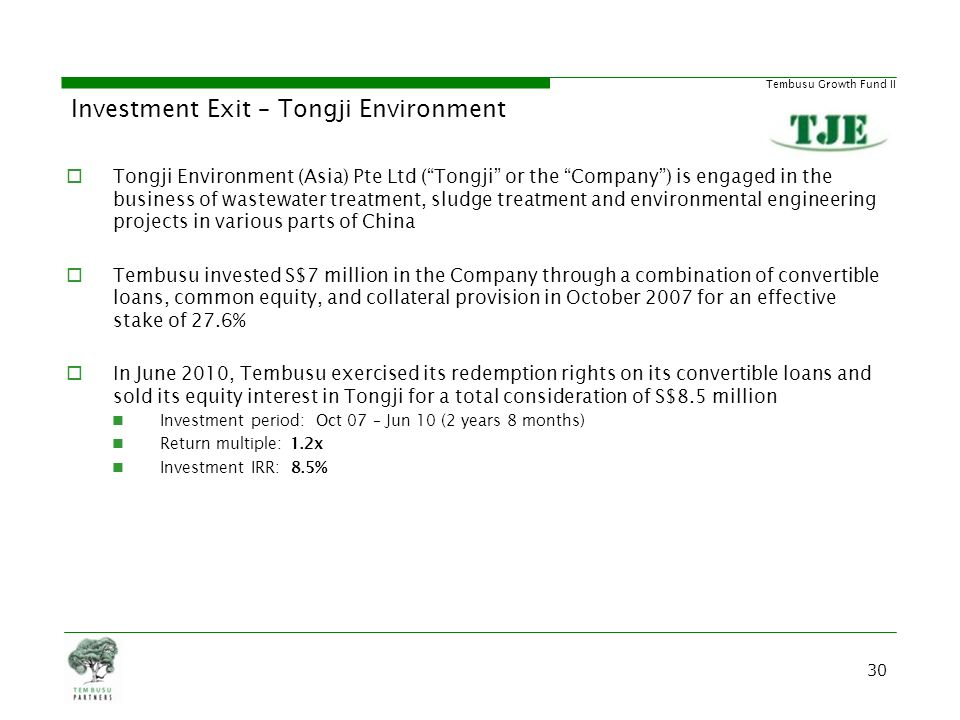 Investment Exit – Tongji Environment