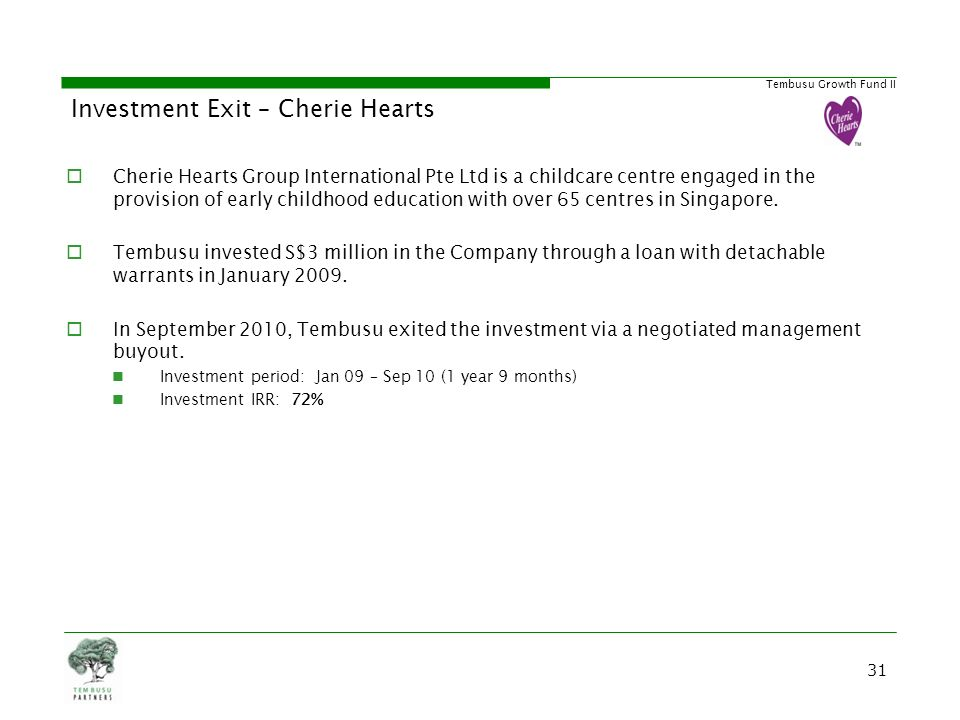 Investment Exit – Cherie Hearts