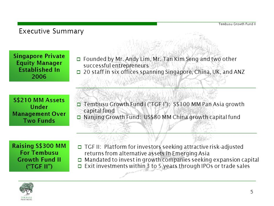 Executive Summary Singapore Private Equity Manager Established In 2006