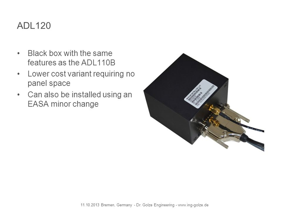 ADL120 Black box with the same features as the ADL110B