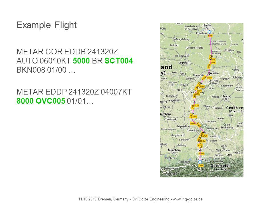 Example Flight METAR COR EDDB 241320Z AUTO 06010KT 5000 BR SCT004 BKN008 01/00 … METAR EDDP 241320Z 04007KT 8000 OVC005 01/01…