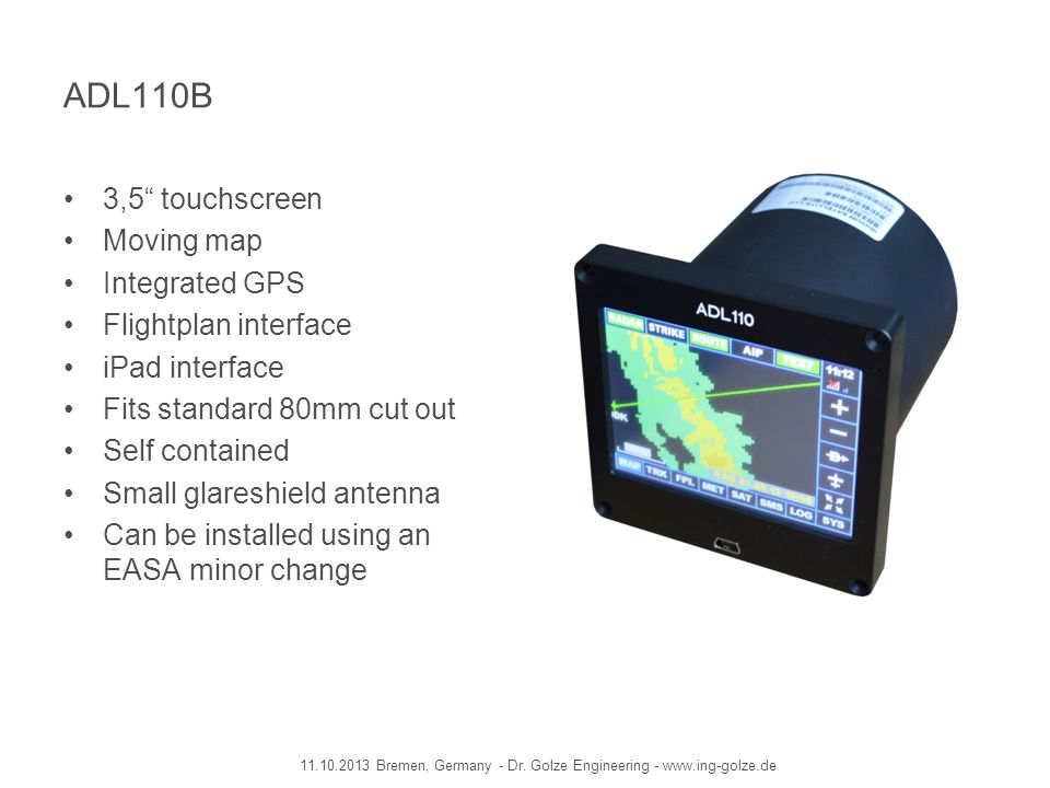 ADL110B 3,5 touchscreen Moving map Integrated GPS