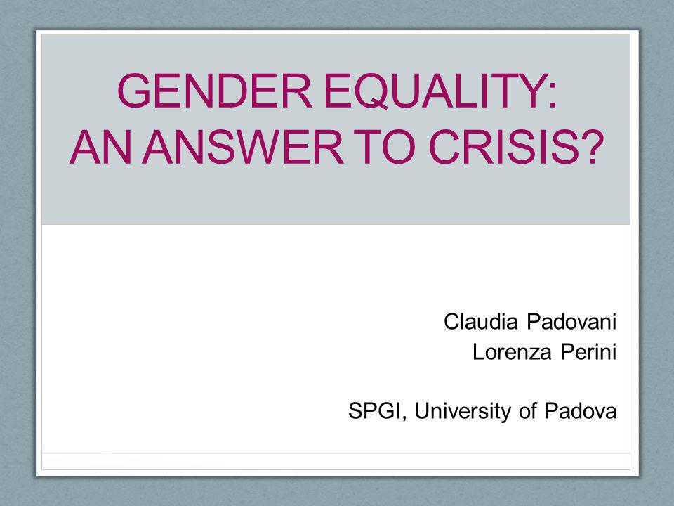 Gender equality: an answer to crisis