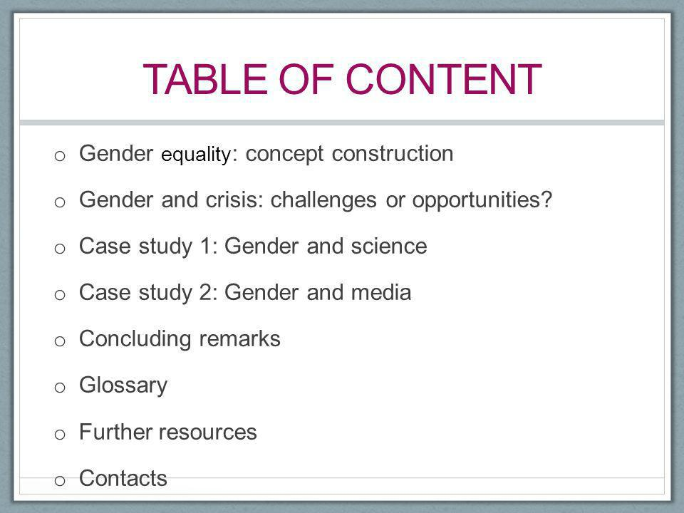Table of content Gender equality: concept construction