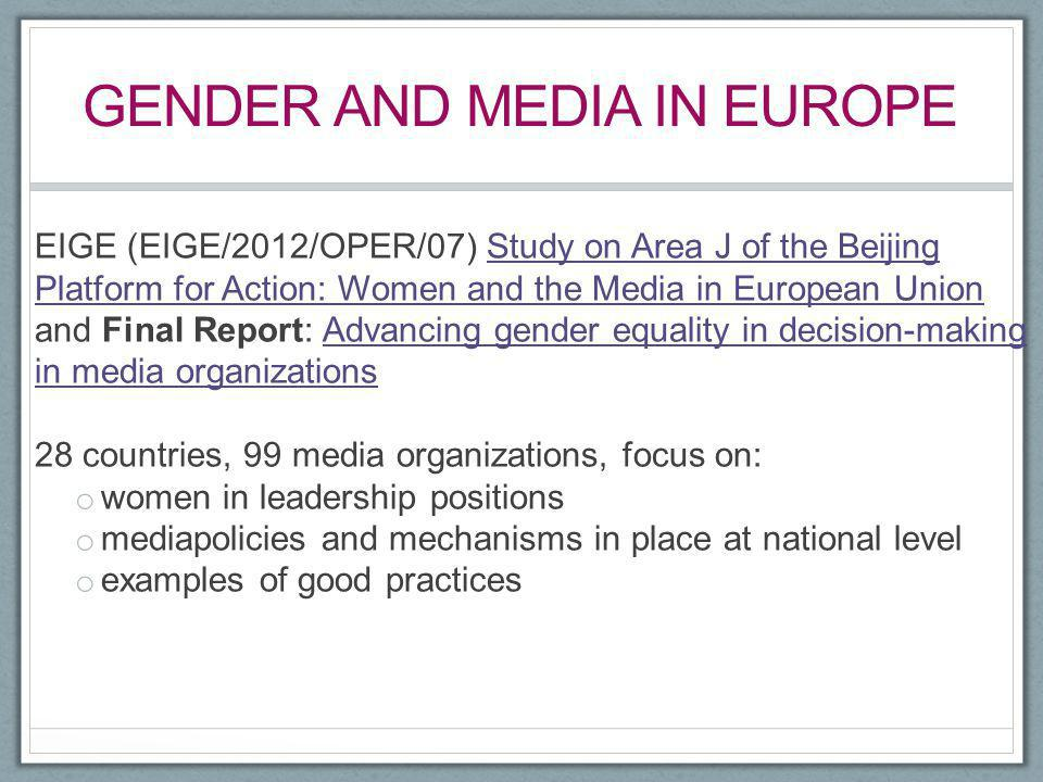 gender and Media in europe
