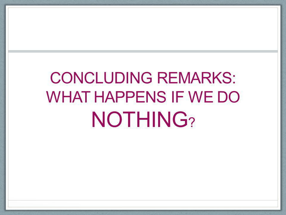 Concluding remarks: what happens if we do nothing