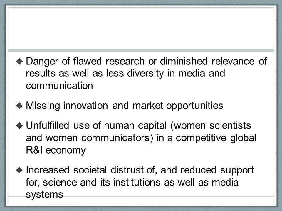 Danger of flawed research or diminished relevance of results as well as less diversity in media and communication