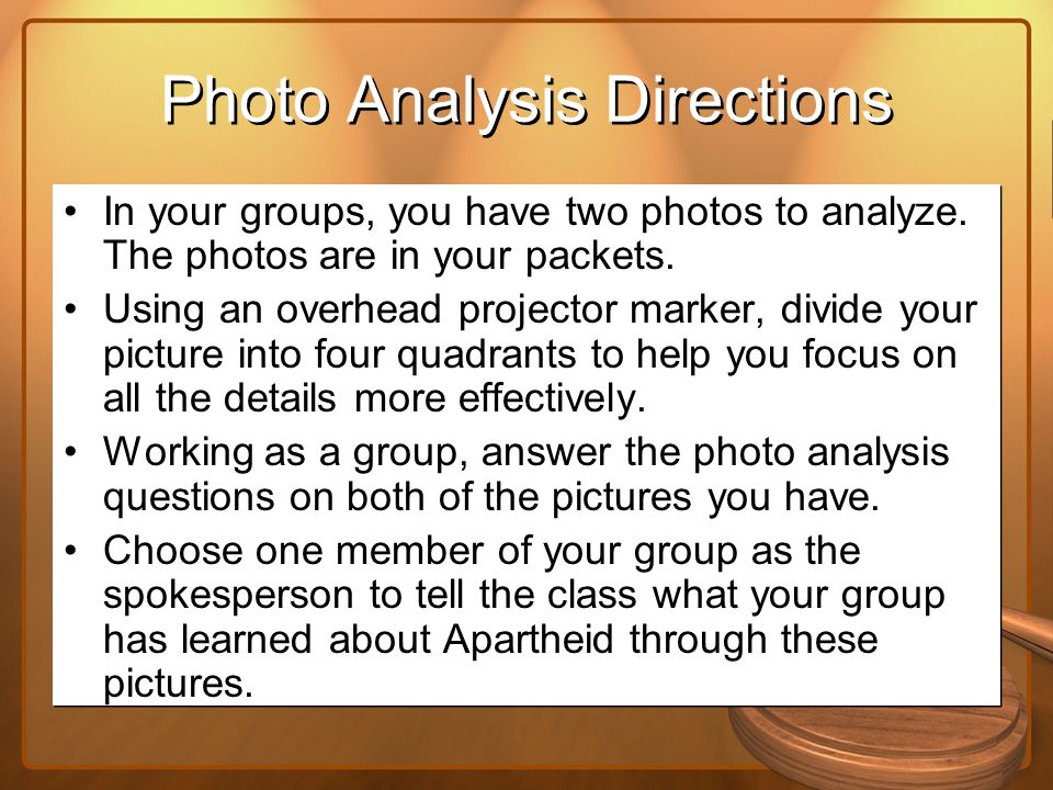 Photo Analysis Directions