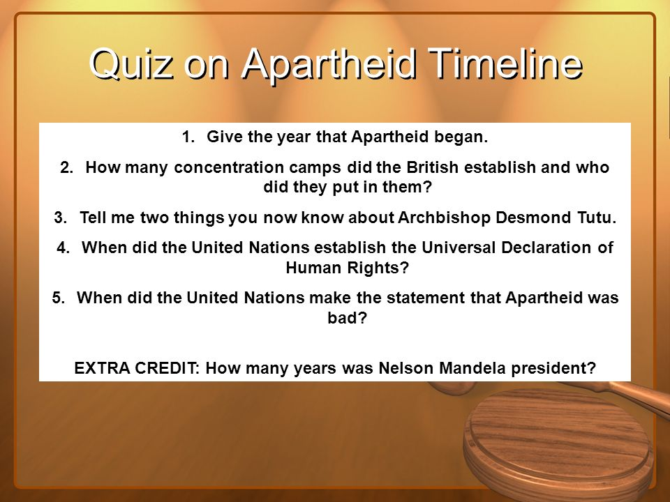 Quiz on Apartheid Timeline