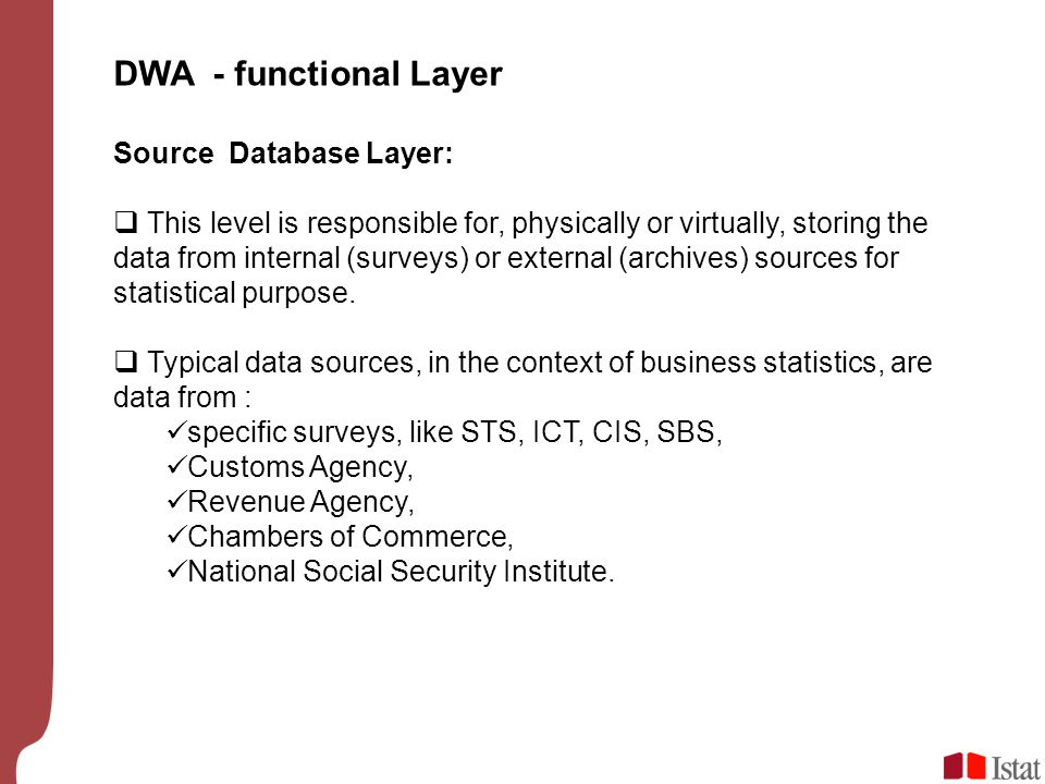DWA - functional Layer Source Database Layer: