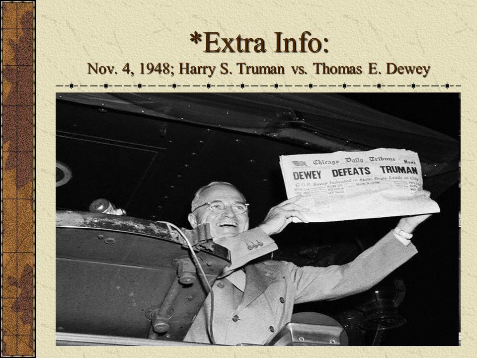 *Extra Info: Nov. 4, 1948; Harry S. Truman vs. Thomas E. Dewey