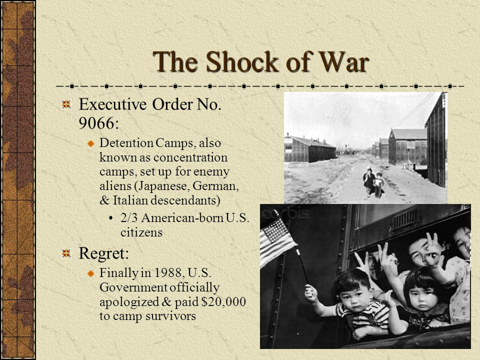 The Shock of War Executive Order No. 9066: Regret: