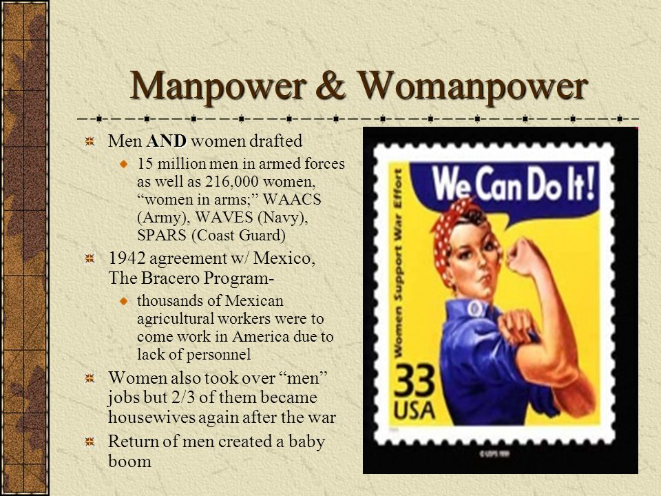Manpower & Womanpower Men AND women drafted