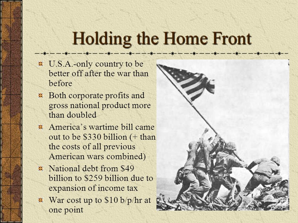 Holding the Home Front U.S.A.-only country to be better off after the war than before.