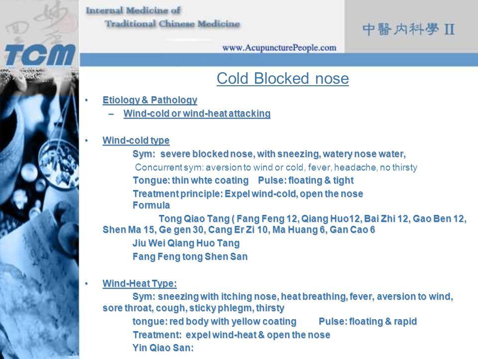 Cold Blocked nose Etiology & Pathology