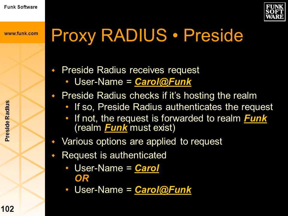 Proxy RADIUS • Preside Preside Radius receives request