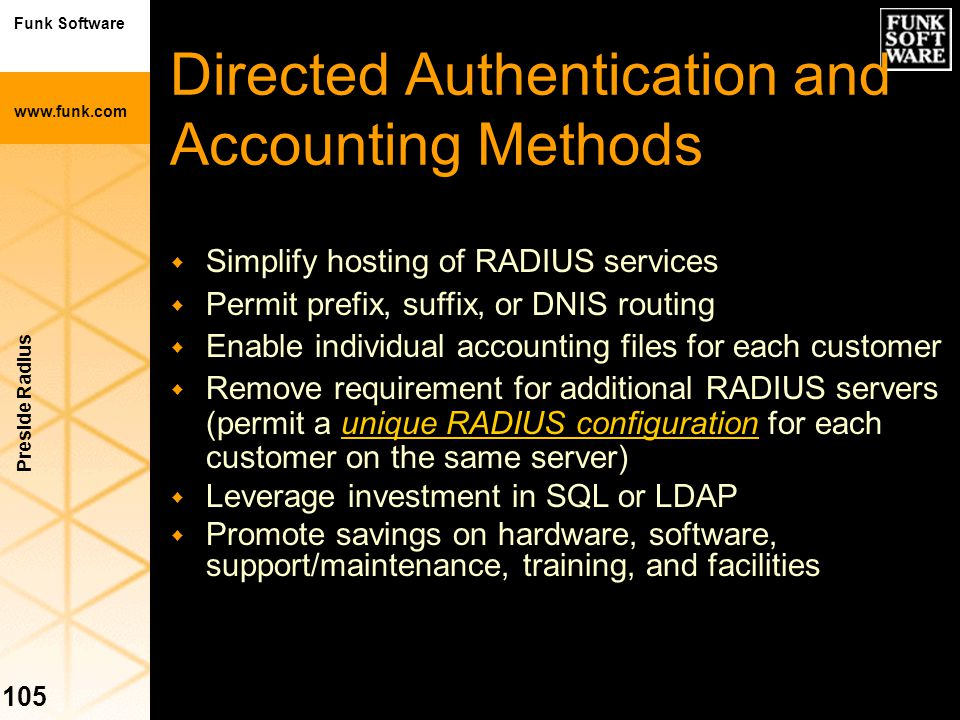 Directed Authentication and Accounting Methods