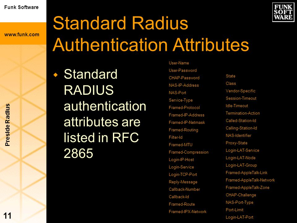 Standard Radius Authentication Attributes