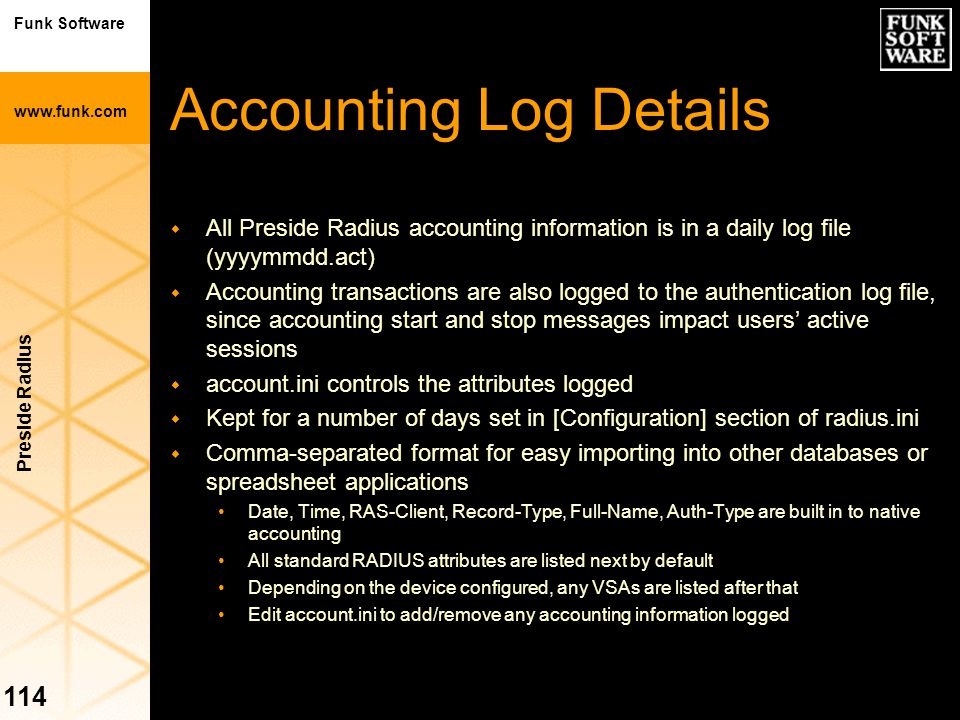 Accounting Log Details