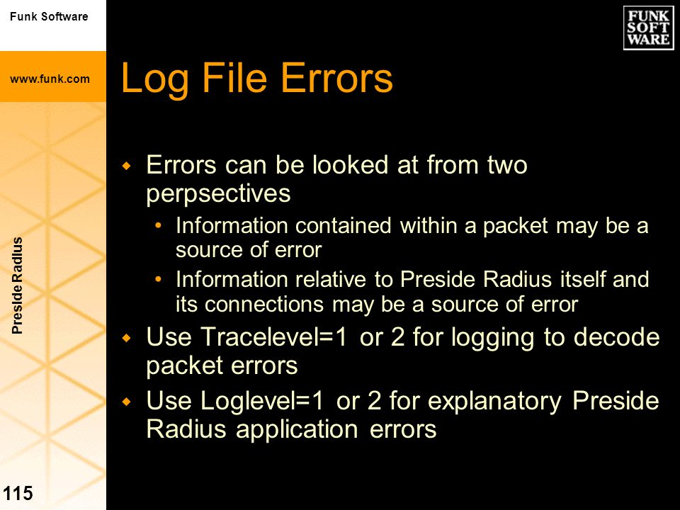 Log File Errors Errors can be looked at from two perpsectives
