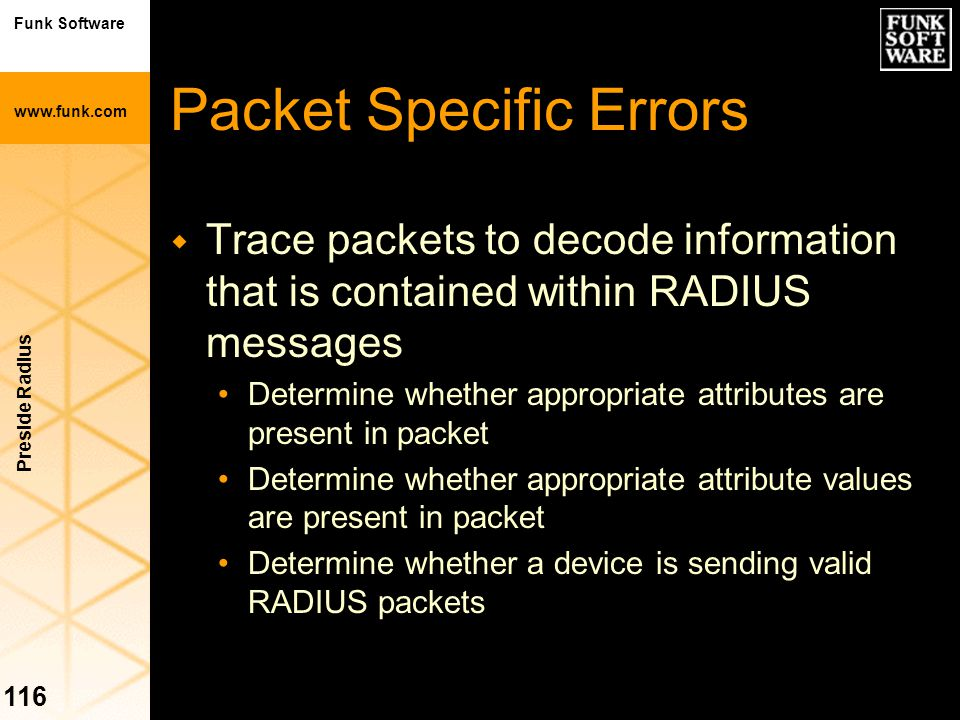Packet Specific Errors