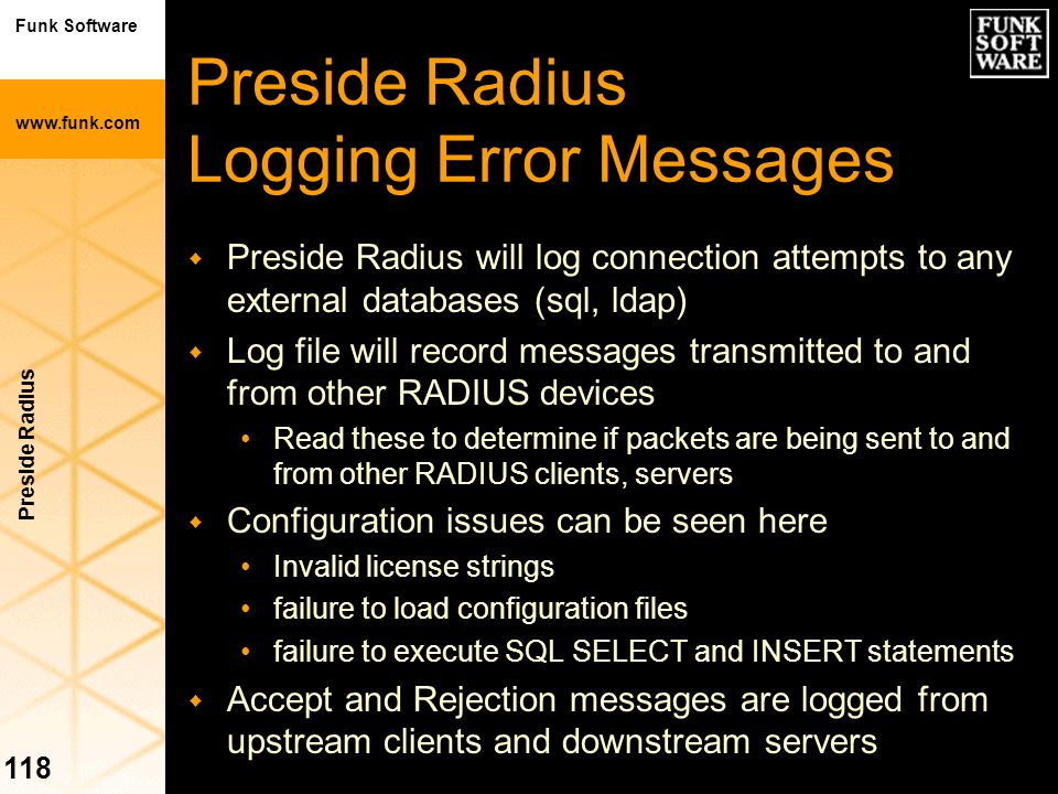 Preside Radius Logging Error Messages