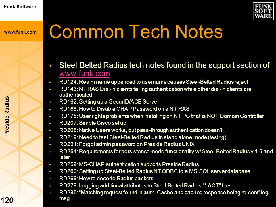 Common Tech Notes Steel-Belted Radius tech notes found in the support section of www.funk.com.
