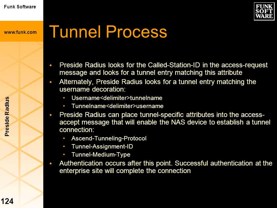 Tunnel Process Preside Radius looks for the Called-Station-ID in the access-request message and looks for a tunnel entry matching this attribute.
