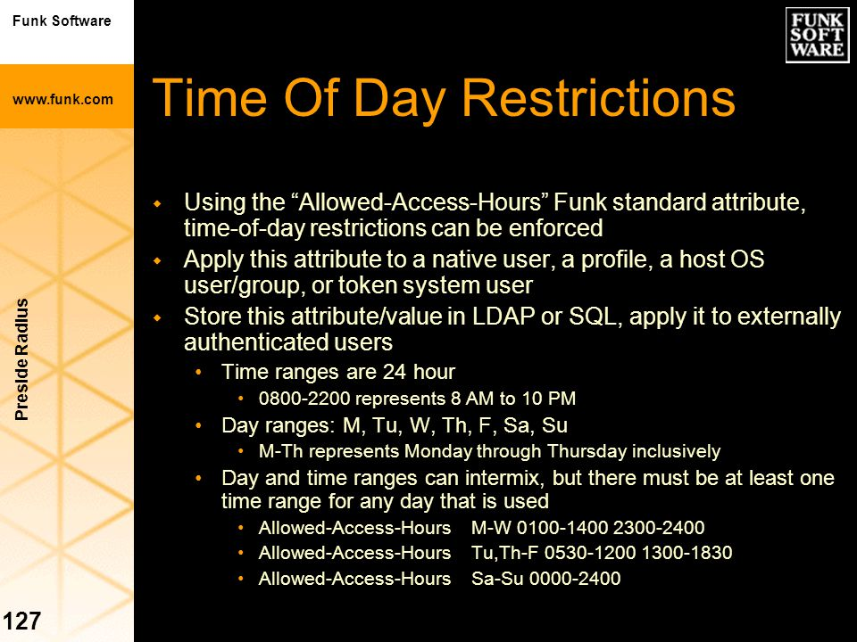 Time Of Day Restrictions