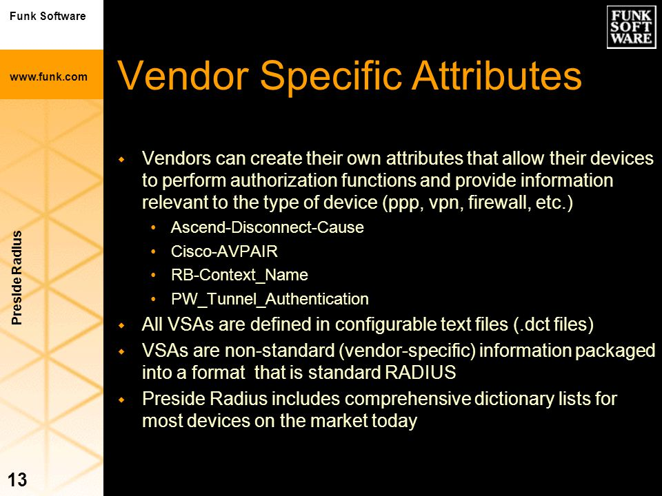 Vendor Specific Attributes