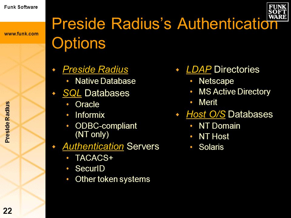 Preside Radius's Authentication Options