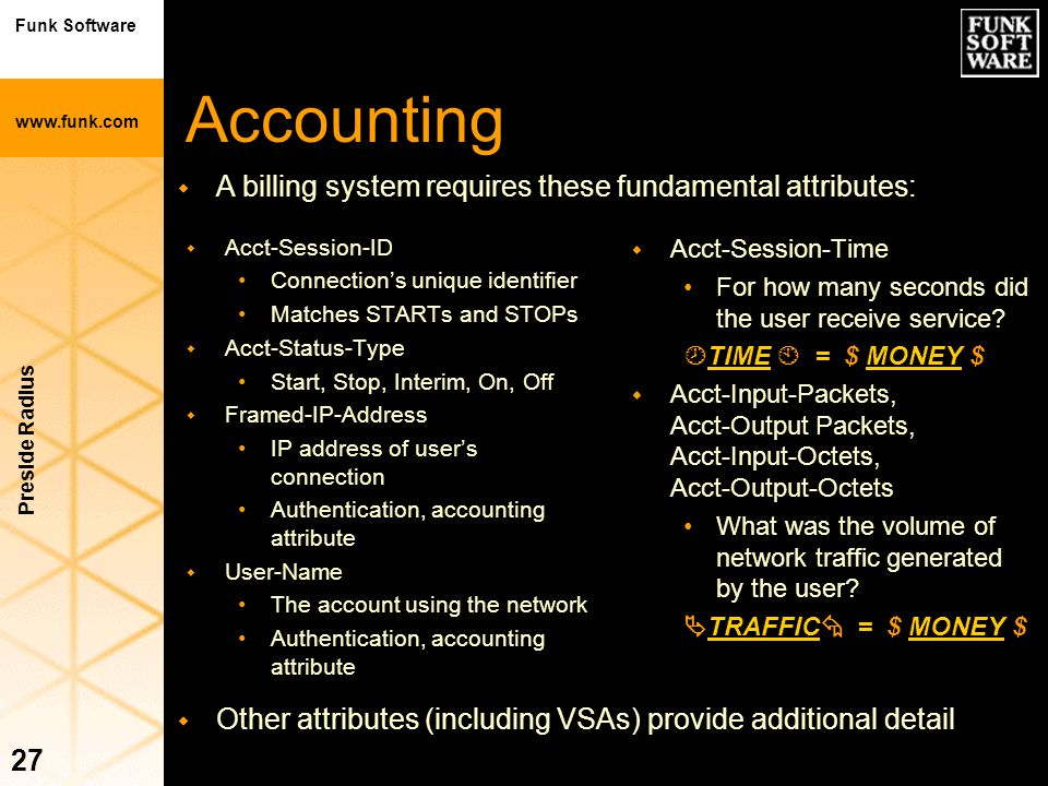 Accounting A billing system requires these fundamental attributes: