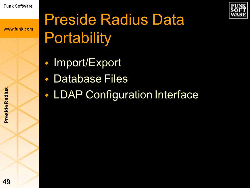 Preside Radius Data Portability
