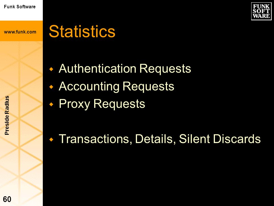 Statistics Authentication Requests Accounting Requests Proxy Requests