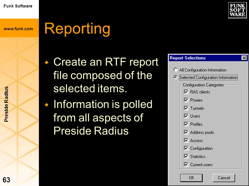 Reporting Create an RTF report file composed of the selected items.