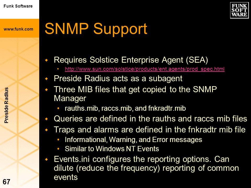 SNMP Support Requires Solstice Enterprise Agent (SEA)