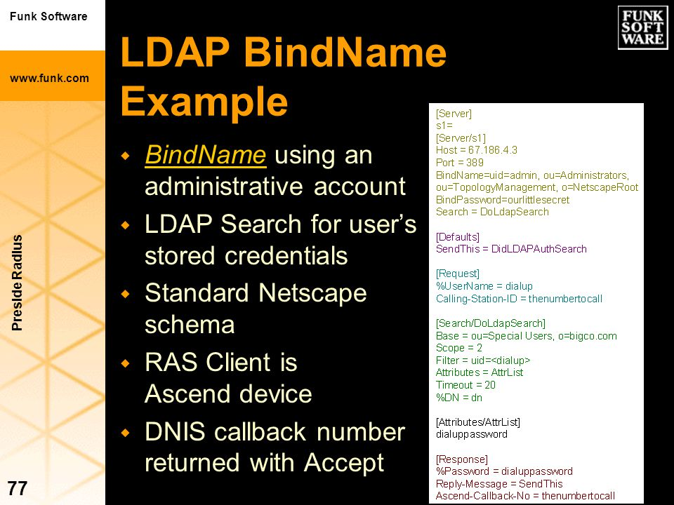 LDAP BindName Example BindName using an administrative account
