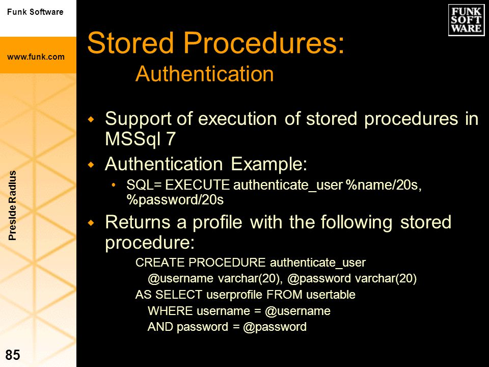 Stored Procedures: Authentication