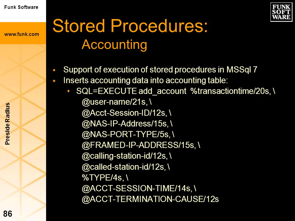 Stored Procedures: Accounting