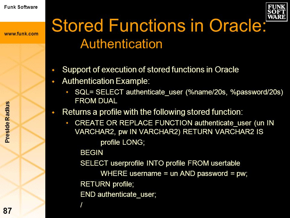 Stored Functions in Oracle: Authentication