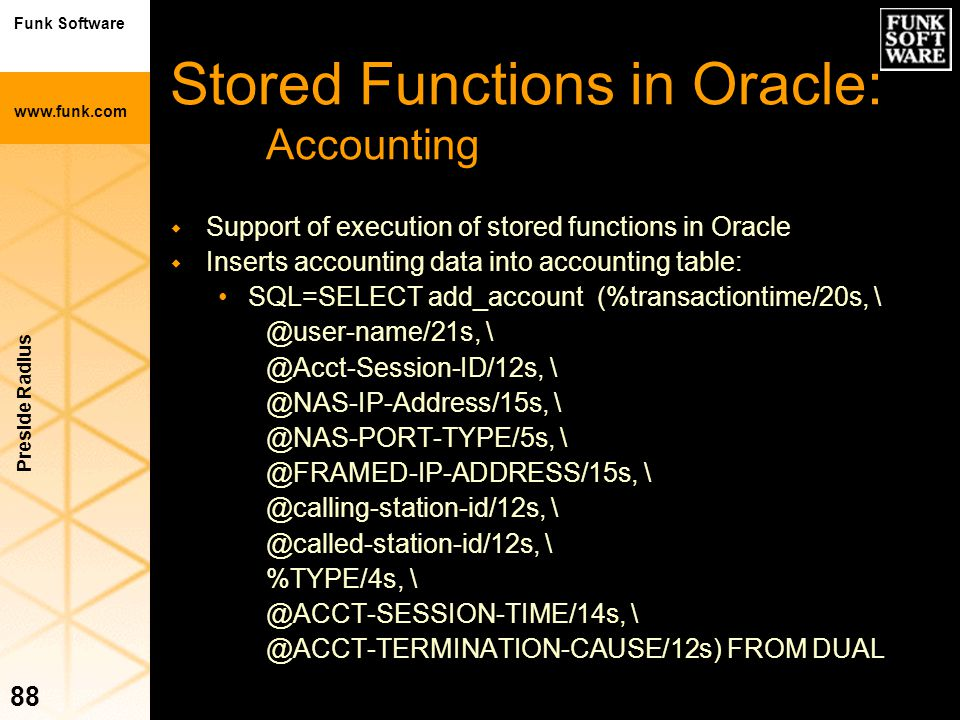 Stored Functions in Oracle: Accounting